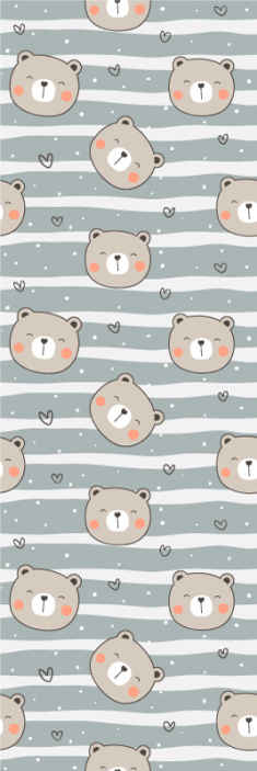 TenStickers. Adorable Little Bears Kids Wallpaper. Kids wallpaper design which features a pattern of faces of adorable little bears surrounded by hearts. High quality materials.