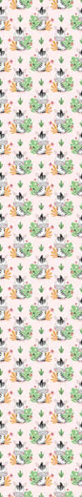TenStickers. Cartoon Zebra and Leaves Wallpaper. Zebra wallpaper which features a pattern of cartoon zebras with jungle leaves and flowers behind it. High quality materials.