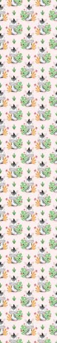 TenStickers. Carta da parati con animali Zebra e foglie del fumetto. Carta da parati zebra che presenta un motivo di zebre dei cartoni animati con foglie e fiori della giungla dietro di esso. Materiali di alta qualità.