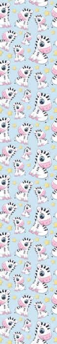 TenStickers. Carta da parati con animali Zebra carina e stelle. La carta da parati zebra e stelle presenta un simpatico motivo di zebre dei cartoni animati circondate da stelle. Facile da applicare. Materiali di alta qualità.