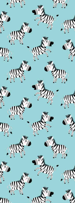 TenStickers. Cute Zebra Animal Wallpaper. Zebra wallpaper which features a pattern of cartoon zebras all facing in different directions. +10,000 satisfied customers.