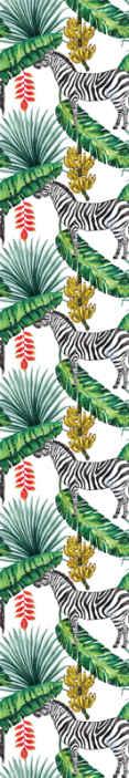TenStickers. 丛林斑马壁纸. 丛林壁纸,其图案带有斑马,丛林叶子和香蕉植物的图像。使用优质材料。