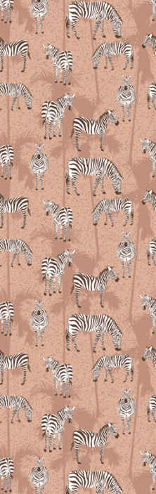 TenStickers. Zebra and palms brown cool animal wallpaper. If you are looking to decorate your home with a more vintage background with animal design, then this zebra and palms wallpaper is a good choice.