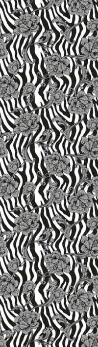 TenStickers. Papier peint fleur Imprimé zèbre et fleurs ornementales. Quoi de mieux que ce papier peint zèbre noir et blanc calme et apaisant avec des fleurs pour décorer une pièce. Il est facile à appliquer et à coller.