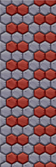 TenStickers. Carta da parati effetto mattoni Amore. Una sala da pranzo presenta carta da parati con un design realizzato con colori rosso e grigio in stile mosaico. Molto facile da applicare.