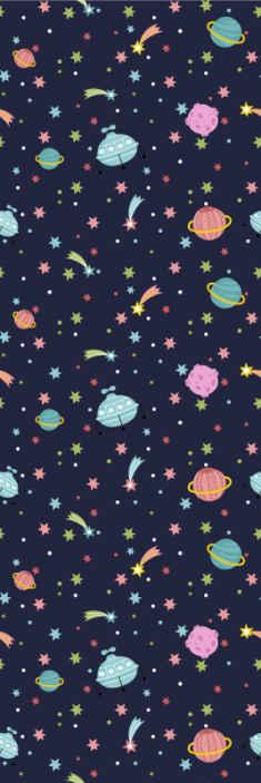 TenStickers. carta da parati con stelle Stelle cadenti. Carta da parati della stanza con un design galassia, sfondo blu e tanti pianeti, stelle e luna di molti colori che riempiranno la tua casa di gioia.