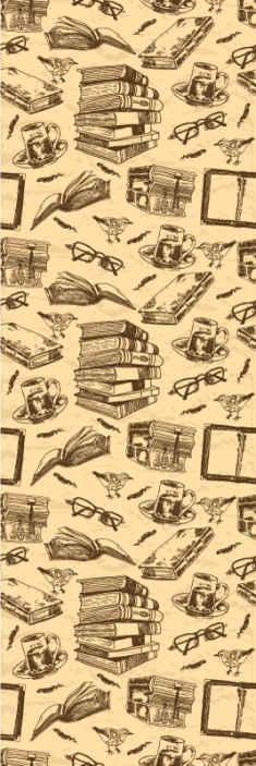 TenStickers. Papier peint pour bureau Ancienne bibliothèque. Rouleau de papier peint de style vintage accueillant la conception de vieux livres, des lunettes de lecture, une tasse de café sur la table, etc.