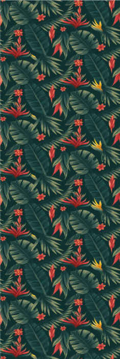 TenStickers. Tropics Nature Wallpaper. Beautiful tropical flower pattern wallpaper that you would not want to miss to decorate your home. It is original, durable and easy to install.