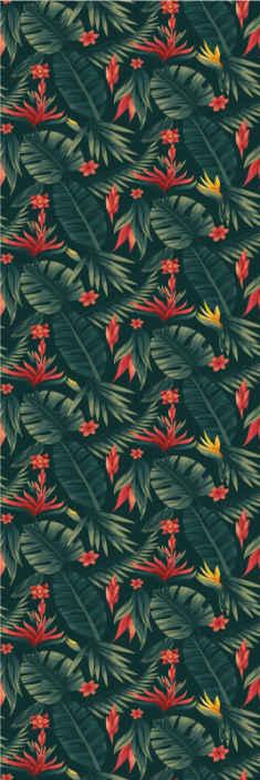 Tenstickers. Tropikerna natur tapeter. Vacker tropisk blommönster tapet som du inte vill missa för att dekorera ditt hem. Den är original, hållbar och enkel att installera.