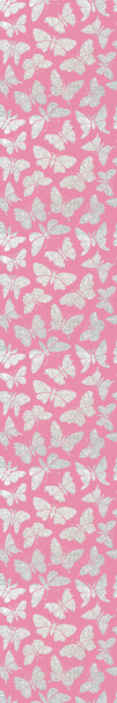 TenStickers. Silver butterflies pink background bedroom Wallpaper. This silver butterflies on pink background wallpaper would be a great choice for kids and teenagers room decoration. It is original and durable.