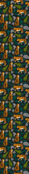 TenStickers. Papier peint salle de bain Fond noir avec des tigres. Conception d'hébergement de produits de papier peint sur le thème de la nature sur différentes impressions de tigre avec des feuilles de palmier.