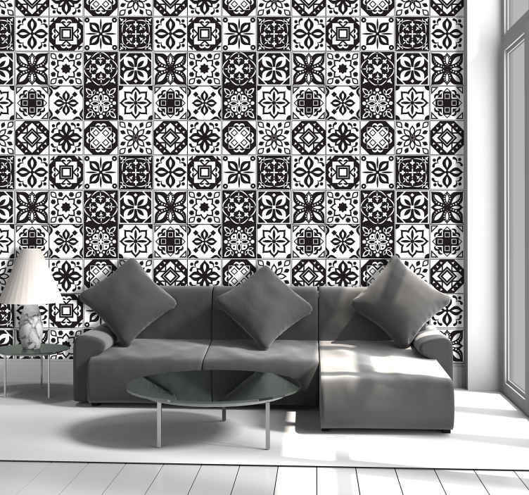 TenStickers. Arabesque - Black & White Vintage Wallpaper. Sublime ornamental wallpaper with tiles of multiple patterns in shades of white and black, which the whole family will love.
