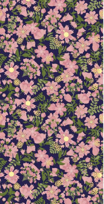 TenStickers. papel de parede flores Papel de parede verde flores rosa folhas. Este papel de parede de flores mostra muitas folhas de flores verdes e rosa de aparência legal em todo o design, fazendo você se sentir como se estivesse na natureza! Entrega ao domicílio!