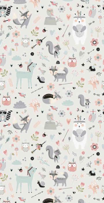 TenStickers. Papier peint sur le thème de la forêt . ces stickers murauxde papier peint de forêt comporte une forêt de styles nordiques remplie de renards, d'arbres et d'autres choses scandinaves!