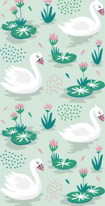 TenStickers. Swans and waterlily wallpaper Kids Wallpaper. Get this swan wallpaper design today and be amazed by its high quality design and easy to follow application manual! Get it now!