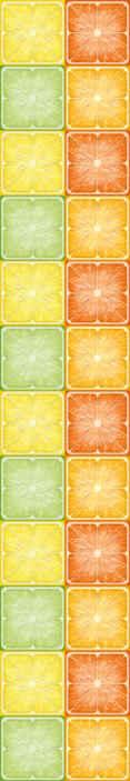 TenVinilo. Papel pintado para cocina azulejos de cítricos. Papel pintado para cocina que presenta un asombroso patrón de cuadrados con imágenes de frutas cortadas por la mitad ¡Disponible para comprar ahora!