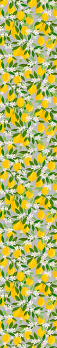 TenStickers. Lemon Tree Kitchen Vinyl Wallpaper. Tree wallpaper design with the illustration of a lemon tree with many branches and fruits, with a gray background to renew the decoration.