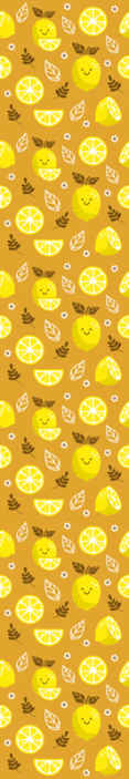 TenStickers. Smiling lemons  Ornamental wallpaper. Smiling lemons citrus wallpaper - The design can be applied on kitchen, dining and other rooms space in a house. Made with quality material.