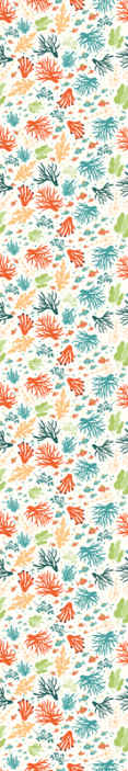 TenStickers. Papier peint chambre Corail coloré. Papier peint à motifs avec l'illustration de coraux de nombreuses couleurs qui rempliront votre maison du calme de l'océan et de la joie des couleurs.