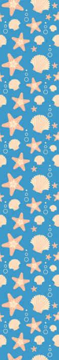 TenStickers. Dieren behang Fishstar en schelpen. Dit schattige kinderkamerbehang zit vol met schelpen, zeestralen en zeeleven! Mooie blauwe achtergrond laat de vormen opvallen. Levering aan huis!
