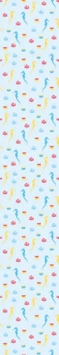 TenStickers. Carta da parati con animali Cavalluccio marino e corallo. Carta da parati vita marina con l'illustrazione di cavallucci marini e coralli con vari colori che riempiranno di pace la decorazione di casa.
