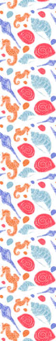 TenStickers. Undersea tile Cool animal wallpaper. how how much you love under sea life animal with this wallpaper patterned with seashells and seahorse in beautiful colour.