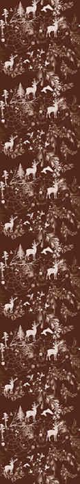 TenStickers. Papier peint chambre Cerf décoratif. Beau papier peint dans une couleur bordeaux avec un cerf, des arbres et de la neige dans un petit imprimé blanc. Idéal pour les amoureux de l'hiver!