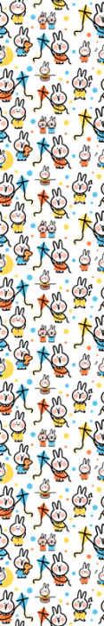 TenStickers. Carta da parati con animali Coniglio appeso a un aquilone. Questa carta da parati per bambini è piena di coniglietti vestiti con abiti colorati e appesi a un aquilone. Design molto divertente e rinfrescante!