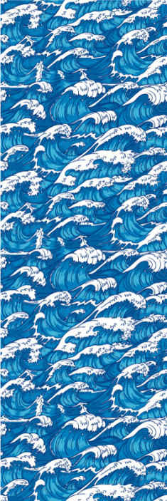 TenVinilo. Papel pared arte olas dibujadas. ¡Papel pared arte de ola de pintura disponible! Diseño artístico de olas para que decores tu casa de forma original ¡Envío exprés!