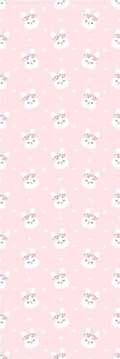 TenStickers. 可爱的兔子在粉红色的背景酷动物壁纸. 这款令人惊叹的婴儿壁纸设计为您的孩子的卧室增光添彩。不要再等待,今天就订购我们的儿童房壁纸!