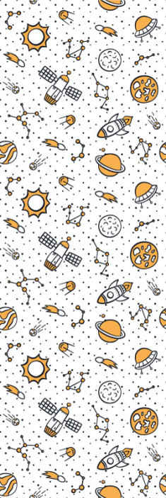 TenStickers. Space and rockets children version Starry Wallpaper. White background wallpaper for children bedroom featured different space illustrations such as the sun, moon, space rocket, asteroids, space ship, etc