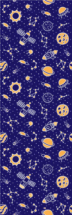 TenStickers. Space and rockets children version dark blue Starry Wallpaper. Create a wonderful space and atmosphere for your little one with our high quality space and rockets children version wallpaper.