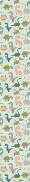 TenStickers. Papier peint chambre fille Dinosaures souriants. Papier peint pour enfants avec l'illustration de dinosaures souriants de différents types, parfait pour décorer la chambre des enfants de la maison.