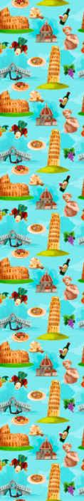 TenStickers. Tapisserie salon Icônes de villes italiennes. Ce papier peint original et moderne est rempli d'icônes des villes italiennes les plus populaires et de symboles du style de vie italien.