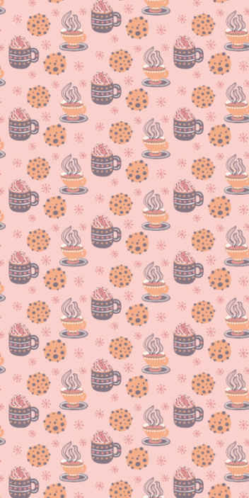 TenStickers. Carta da parati cucina Dolci natalizi. Carta da parati a tema cucina perfetta. L'incredibile sfondo rosa con illustrazioni di design di diverse bevande al caffè, fiocchi di neve, ecc.