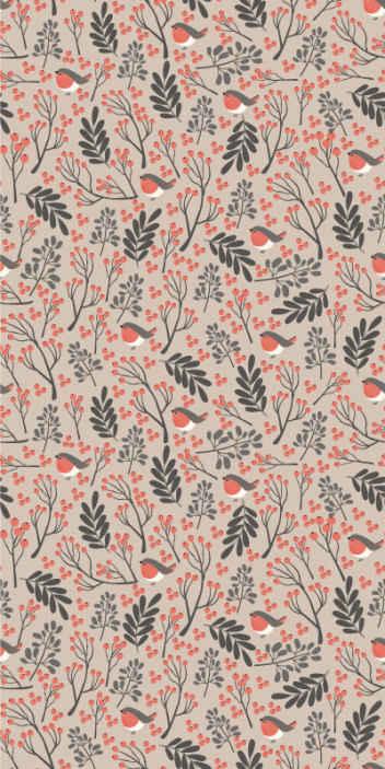 TenStickers. Tapeta do salonu Bardzo ładny świąteczny kwiatowy wzór. Ten szczególny wzór tapety natury jest pełen kształtów liści w artystycznym wzorze w różnych kolorach na delikatnym jasnoróżowym tle!