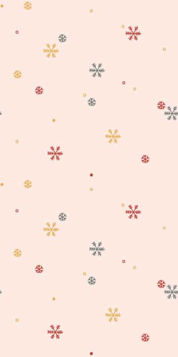 TenStickers. Tapisserie salon sticker de neige élégant. Les flocons de neige délicats dans des couleurs douces de bleu pastel, jaune et rouge sur un fond clair, presque blanc sur un papier peint de salon.