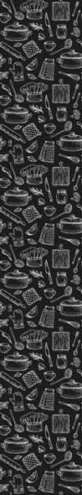 TenStickers. Parati moderni Posate eleganti. Un'elegante carta da parati decorativa con un design creato in un solido sfondo nero e che ospita diversi utensili da cucina e posate.