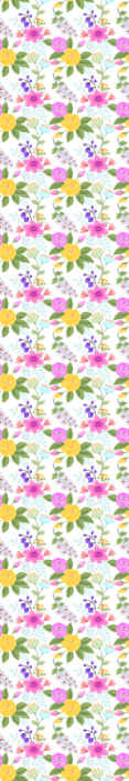 TenStickers. Papier peint retro Style vintage de roses colorées. Ajoutez une belle touche douce sur un espace spécialement pour les enfants avec ce papier peint en sticker de haute qualité avec des motifs de fleurs.