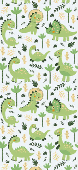 TenStickers. Baby dinosaurs Cool animal wallpaper. Different green dinosaur animal wallpaper with background illustrating nature. Lovely wallpaper for children bedroom and playroom decoration.