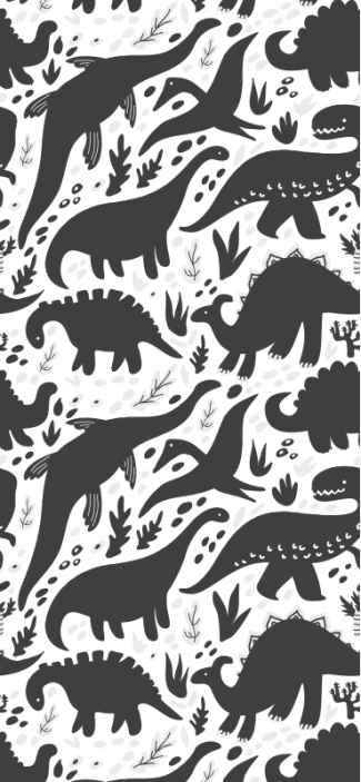 TenVinilo. Papel pintado de dinosaurios blanco y negro. Papel pintado de dinosaurios para niños amigables crearía una atmósfera maravillosa en el lugar de los niños ¡Descuentos disponibles!