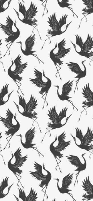 TenStickers. Carta da parati con animali Gru minimaliste. Carta da parati in vinile con l'illustrazione di gru minimaliste in colori neutri che riempiranno con eleganza e un tocco classico le pareti di casa.
