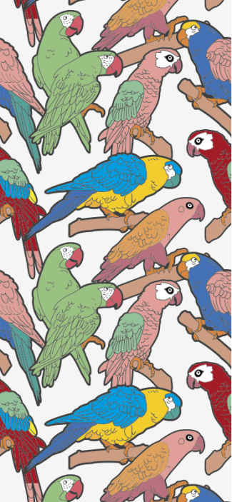 TenStickers. Papier peint vintage Variété de perroquets. ces stickersparticulière d'un papier peint animal est pleine de perroquets dans différentes couleurs de rouge, jaune, bleu, vert