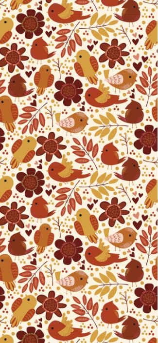 TenStickers. 秋鸟动物壁纸. 看看这个秋天的震动自然壁纸,满是秋天的红色,黄色和橙色的鸟和叶子。可以送货上门!