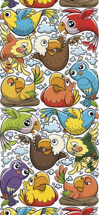 TenStickers. 卡通鸟孩子壁纸. 儿童壁纸,带有色彩鲜艳的动画小鸟设计,非常适合您在家中装饰孩子的房间,婴儿或任何其他孩子的房间