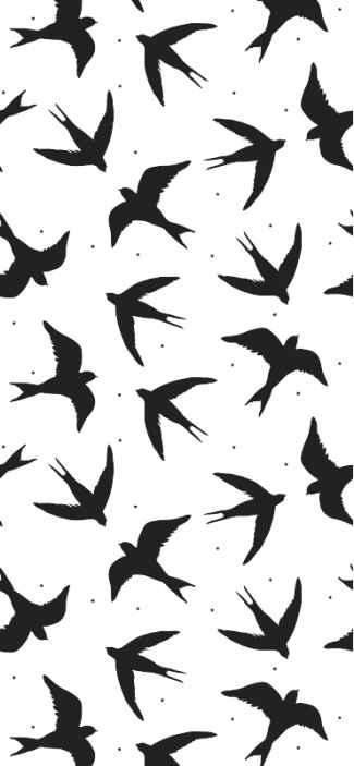 TenStickers. 鸟飞走了餐饮壁纸. 现代壁纸,以鸟类的许多剪影为例,黑色带有灰色背景,带来优雅,经典的触感。