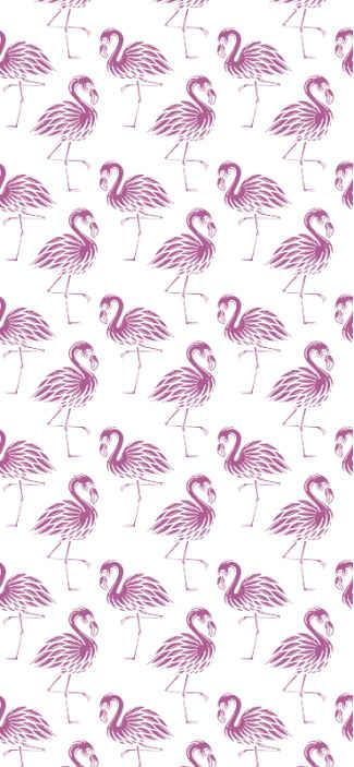 TenStickers. Carta da parati con animali Fenicotteri eleganti. Carta da parati di lusso con fenicotteri rosa che riempirà di eleganza, modernità e gioia l'atmosfera della decorazione della tua casa.