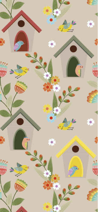 TenStickers. bird houses Kids Wallpaper. Childrens wallpaper with the illustration of bird houses surrounded by birds and flowers that will give a natural touch to your baby's room.