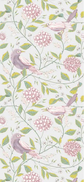 Tenstickers. Pastellilinnut oksilla makuuhuoneen tapetti. Eläinten tapetti, jossa on esimerkki monista linnuista, ja kukkien ja oksien muotoilu antaa kodillesi luonnollisen ilmapiirin.