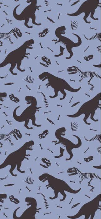 Tenstickers. Dinosaurukset ja lapset Tapetti lastenhuoneeseen. Lastenhuoneen tapetti, jossa on kuva monista dinosauruksista harmaalla sinisellä pohjalla täyttääkseen jurassic-ympäristö, lapsesi huone.